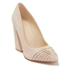 Nine West 8M Harlyn Block Flare Pump Heels Nude